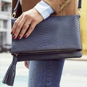 GiGi New York fold over clutch embossed python bag